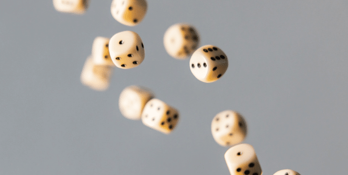 picture of dice in the air